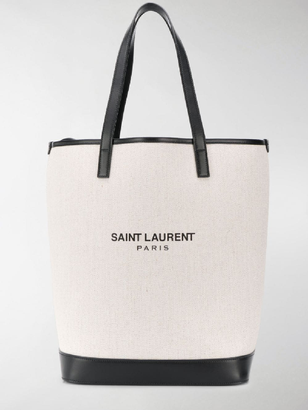 a9a3d4659e7 Saint Laurent Teddy Medium Canvas/Leather Drawstring Shopping Tote ...