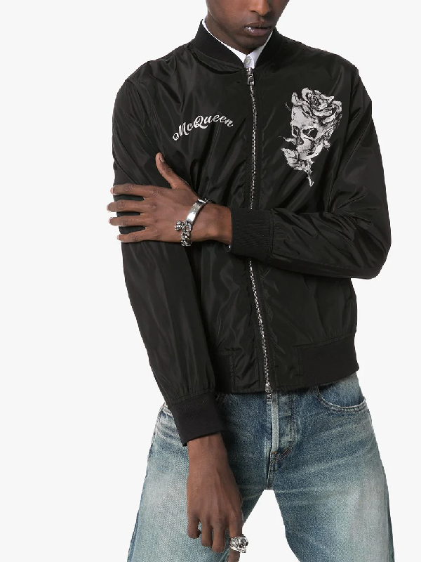 ca1d4199d Alexander Mcqueen Skull And Rose Printed Bomber Jacket In Black ...