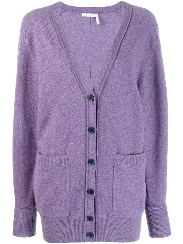 664e6d40289da6 ChloÉ V-Neck Cardigan - 575 Shadow Purple | ModeSens