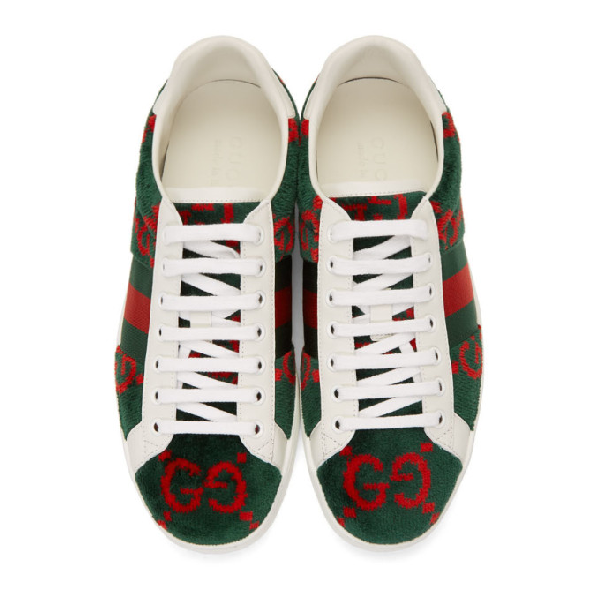Gucci Men's New Ace Velour Low-Top Sneakers In Green
