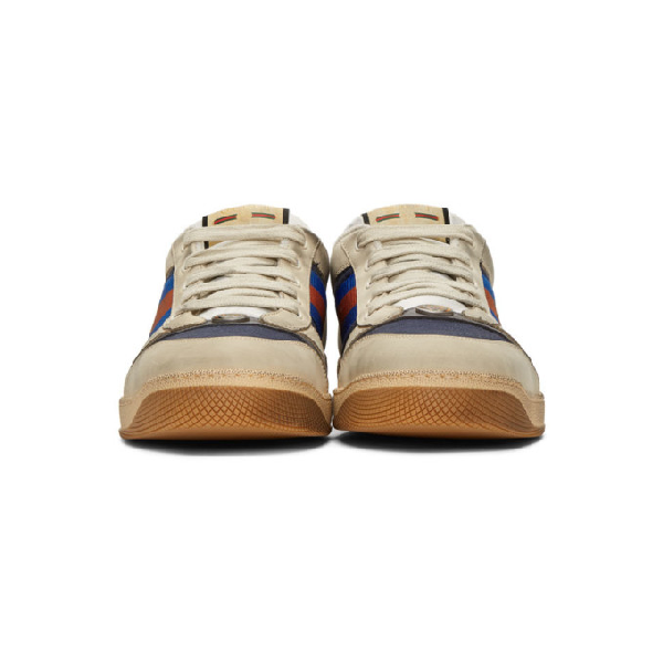 Gucci Screener Webbing-Trimmed Distressed Leather And Canvas Sneakers In Neutrals