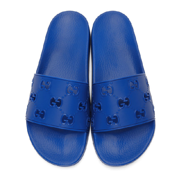 Gucci Men's Rubber Gg Slide Sandal In Blue