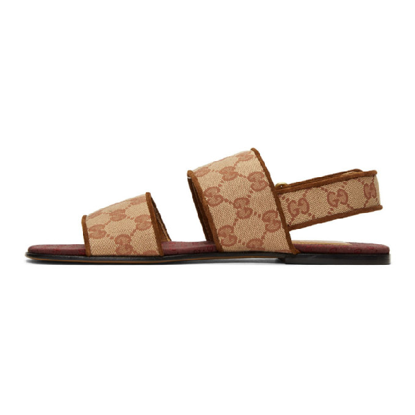 Gucci Suede-Trimmed Monogrammed Canvas Sandals In Neutrals