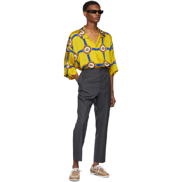 17adbf219fa9 Gucci Gg Harness-Print Bowling Shirt - Yellow In 7642 Yellow | ModeSens