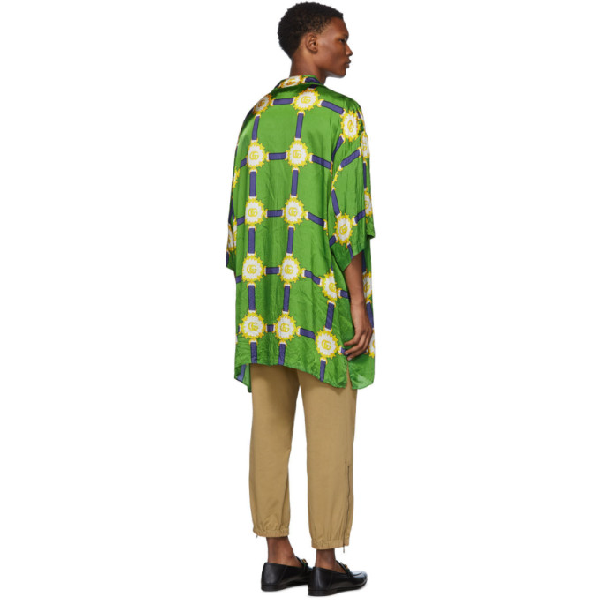 24d430ed0c0b Gucci Gg Harness Print Bowling Shirt In Green | ModeSens