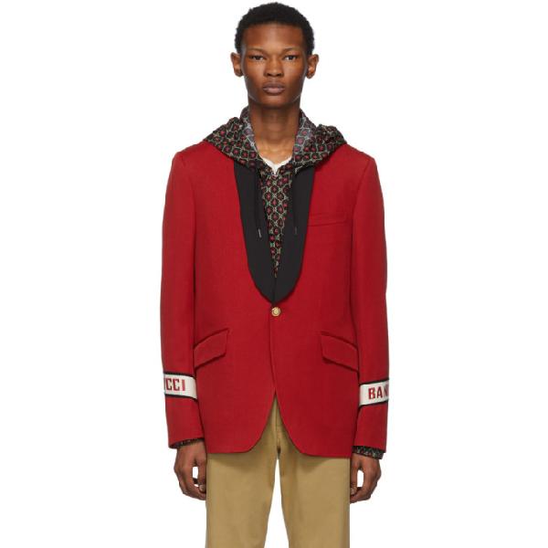 943cf6472 GUCCI RED GUCCI BAND BLAZER. Long sleeve wool twill ...