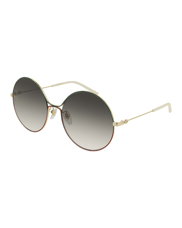 2cfe45b36e95 Gucci Metal Web-Front Round Sunglasses In Gold/Green/Red | ModeSens