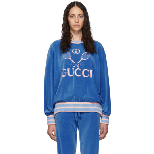 b2d3fc0fa Gucci Tennis Logo-Embroidered Chenille Sweatshirt In Blue | ModeSens