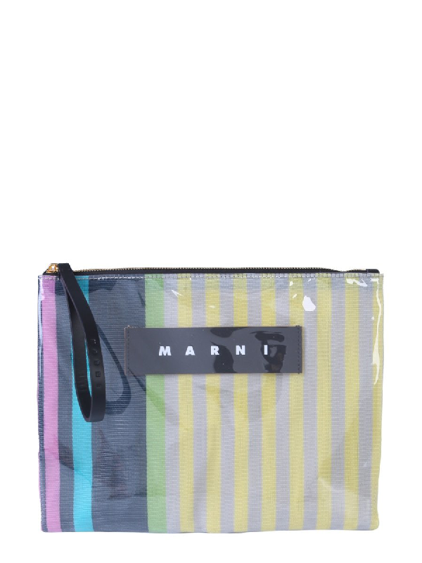 Marni Striped Clutch Bag In Multi