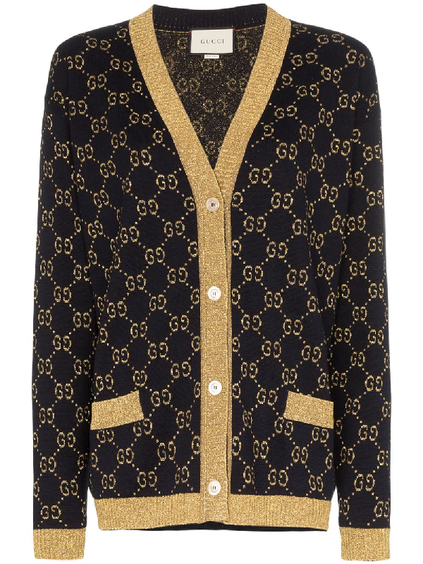 10bd13166 Gucci Gg Supreme Lurex & Cotton Knit Cardigan In 4921 Blue   ModeSens