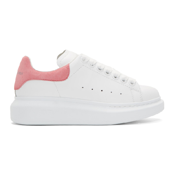 9fb9e16e321 Alexander Mcqueen Leather Lace-Up Platform Sneakers, White Pattern ...