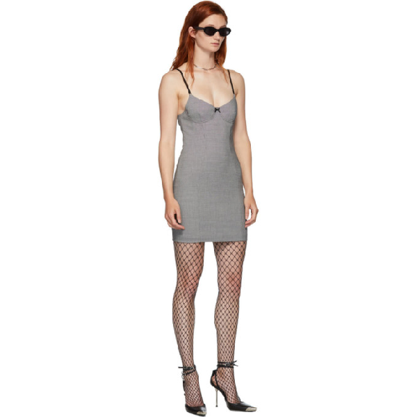 Alexander Wang Houndstooth Fitted Mini Dress In Grey