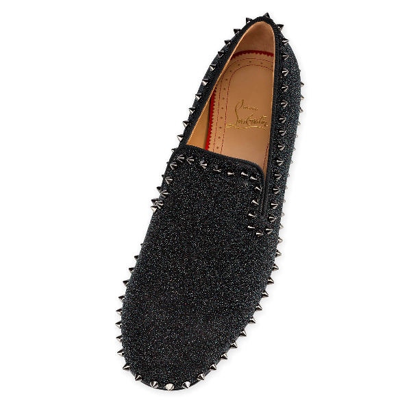 Christian Louboutin Men's Spiked Metallic Loafers In Black