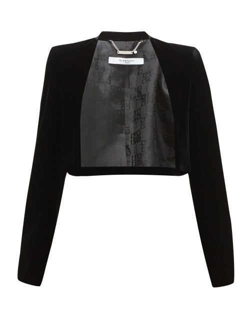 Givenchy - Collarless Velvet Bolero Jacket - Womens - Black