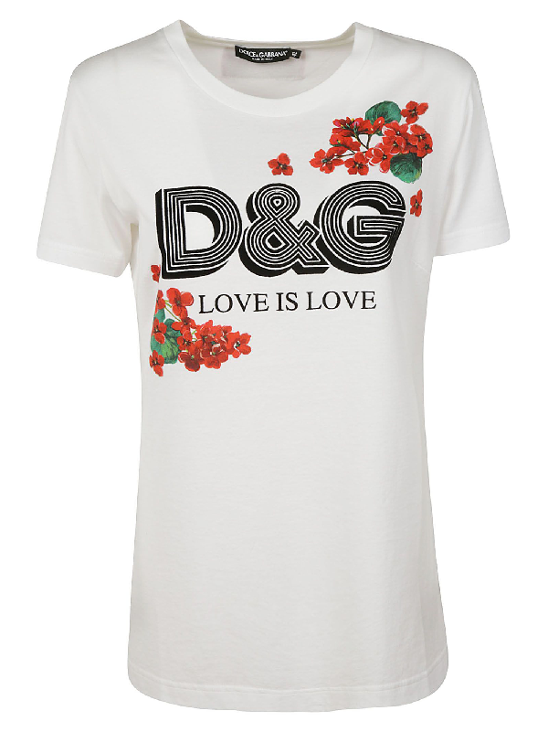 Dolce & Gabbana Flocked Floral-Print Cotton-Jersey T-Shirt In White