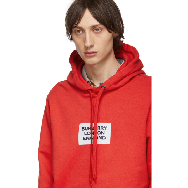 Burberry Printed Cotton Jersey Sweatshirt Hoodie In Red