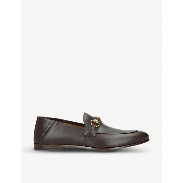 Gucci 10Mm Leather Foldabled Loafers W/ Web In Brown