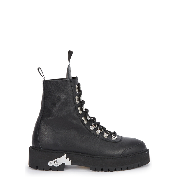 Off-White Hiking Textured-Leather Ankle Boots In Black