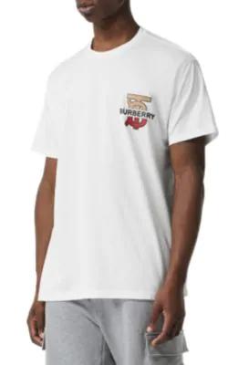 Burberry Gatley Monogram Logo-Print Cotton T-Shirt In White