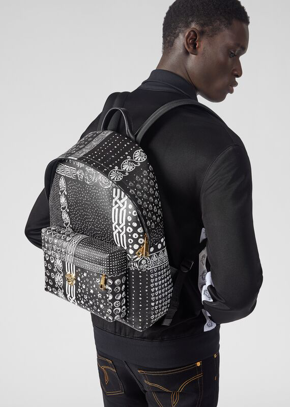 846cb4c418 Bandana Print Saffiano Leather Backpack in Black+White