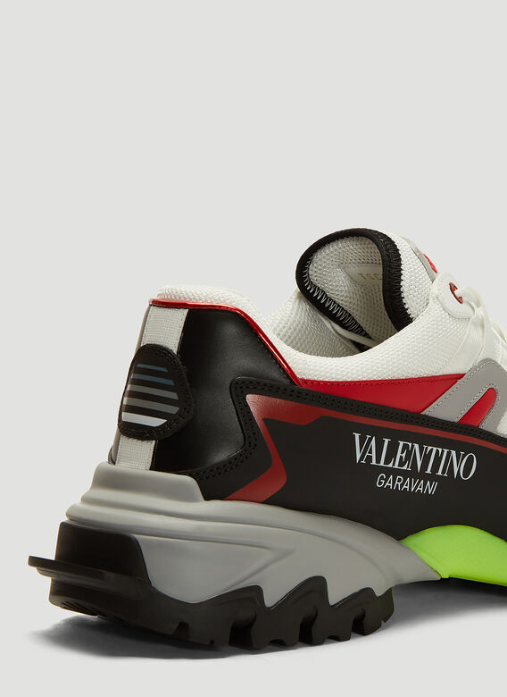 Valentino Fabric And Leather Climbers Trainer Man White Calfskin 100%, Textile Fibres 45