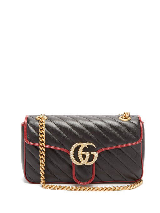 Gucci Small Gg Marmont 2.0 Matelasse Leather Shoulder Bag - Black