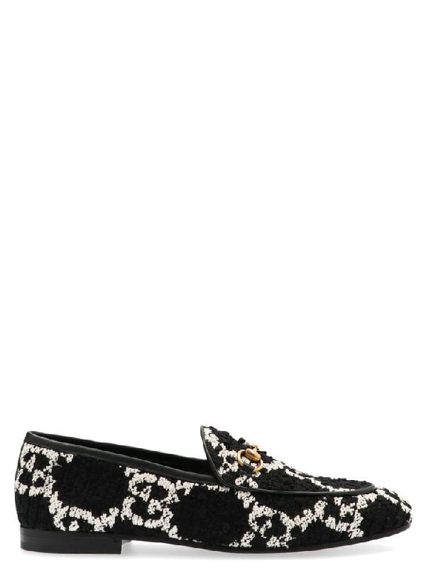 Gucci New Jordaan Gg Tweed Horsebit Loafers In Black