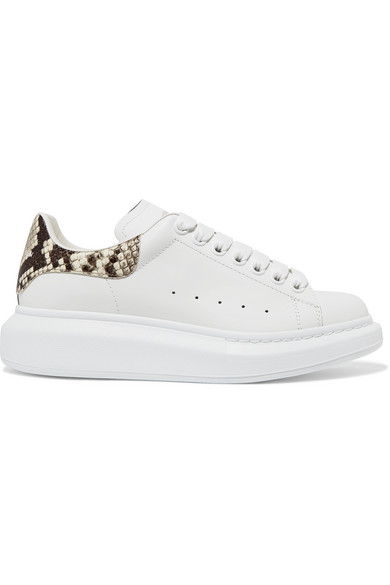 Alexander Mcqueen White And Printed Python Classic Sneakers