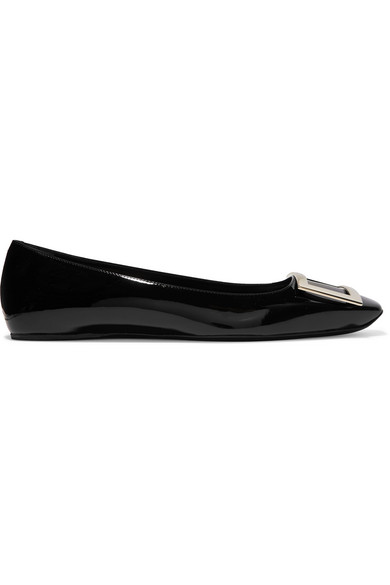 a686152fc6f7b Roger Vivier Trompette Bellerine Glossed-Leather Ballet Flats In Black