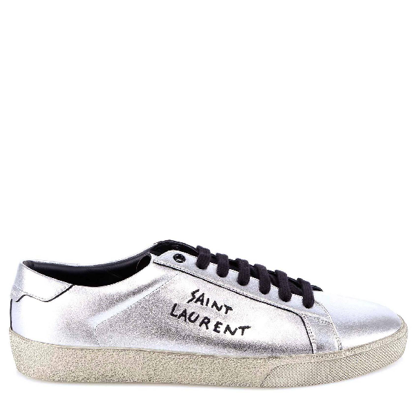 Saint Laurent Court Classic Sl/06 Embroidered Sneakers In Used-Look Metallic Leather In 8163 -Argento+Nero