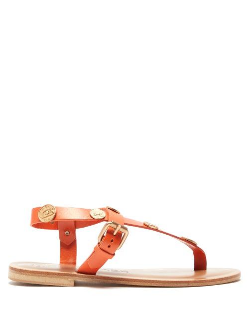 ÁLvaro GonzÁLez ÁLvaro - Andreina Coin Charm Leather Sandals - Womens - Orange