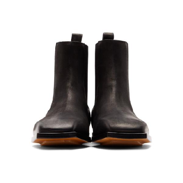 8cb5c16f1fb Black Flat Square Toe Chelsea Boots in 09 Black