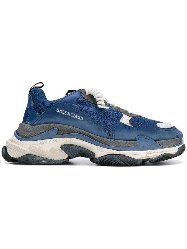 Balenciaga Men's Triple S Mesh & Leather Sneakers, Blue/Gray, Blue/Gray