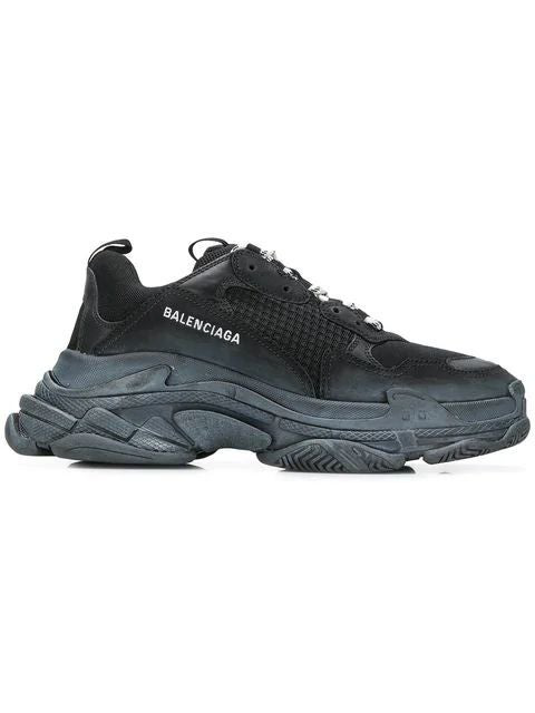 Balenciaga Low-Top Sneakers Triple S  Calfskin Lambskin  Polyester Logo Black-Combo In 1000 Black