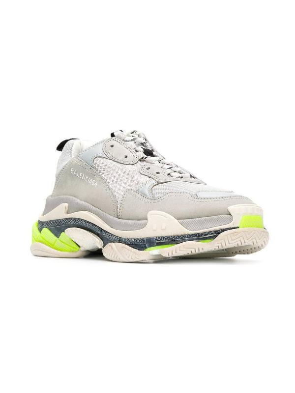 Balenciaga Men's Triple S Mesh & Leather Sneakers, Gray In Grey
