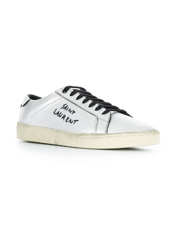 46b4042480f SAINT LAURENT. Court Classic Sl/06 Embroidered Sneakers In Used-Look  Metallic Leather ...