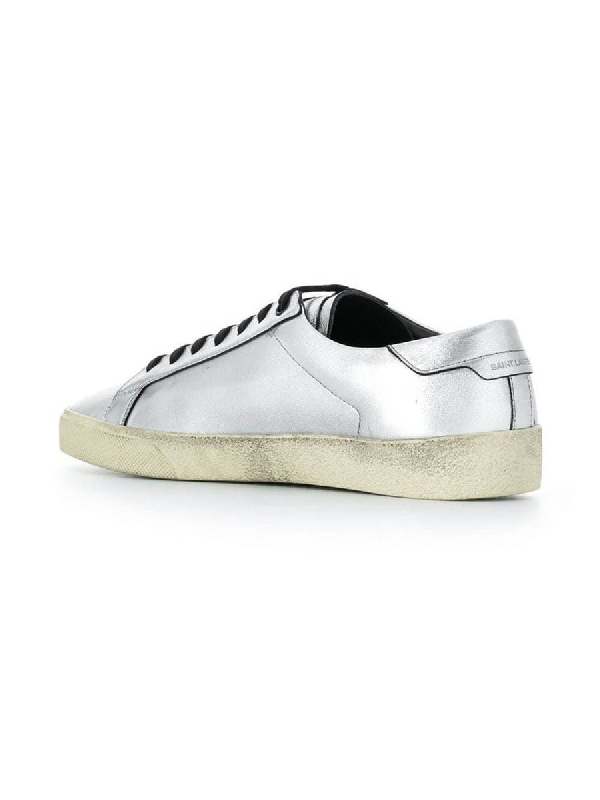 Saint Laurent Court Classic Sl/06 Embroidered Sneakers In Used-Look Metallic Leather In Grey