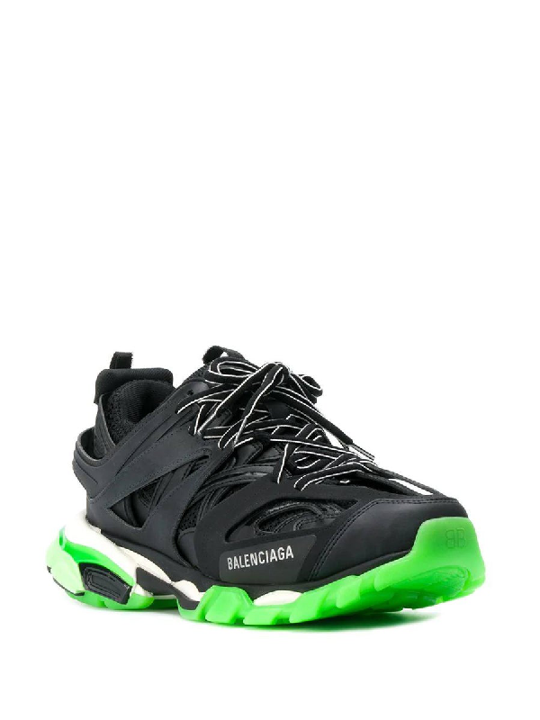 Balenciaga Black And Green Track Sneakers
