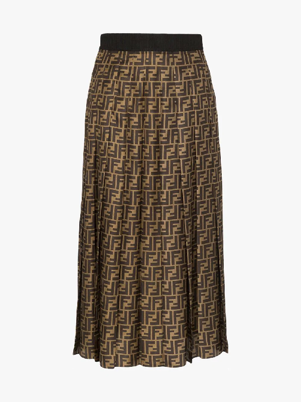 9b4b3346772331 Fendi Ff-Print Pleated Silk Skirt In Neutrals | ModeSens
