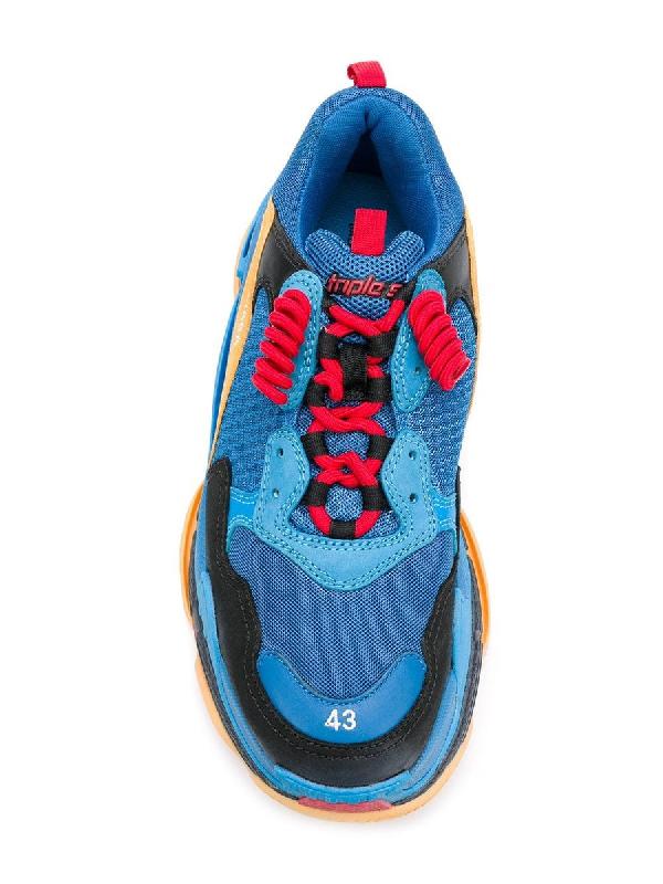 Balenciaga Men's Triple S Mesh & Leather Sneakers, Blue/Orange, Blue/Orange In Blue Other