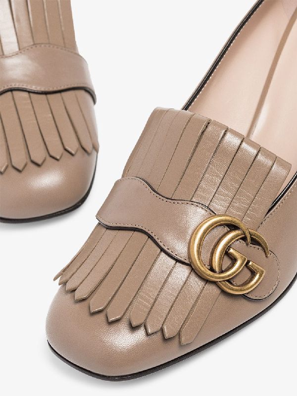 Gucci Leather Mid-Heel Pump With Fringe In Neutrals