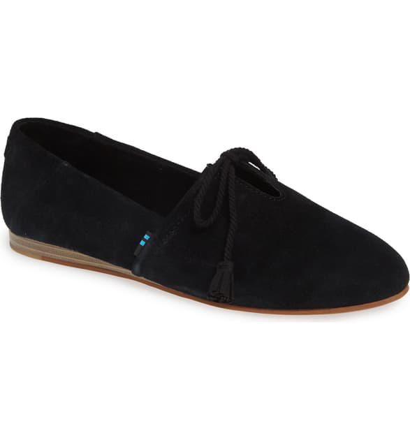 Toms Kelli Flat In True Black Suede
