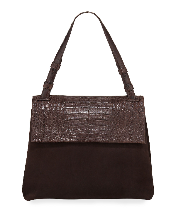 Nancy Gonzalez Sophie Medium Crocodile And Suede Shoulder Bag In Brown