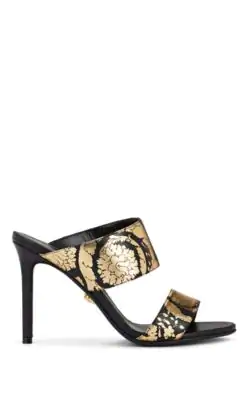 Versace Floral-Print Metallic Leather Mules In Black