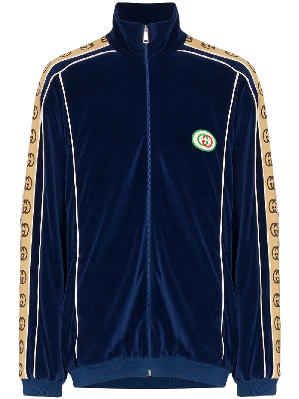7218110f Gucci Oversize Chenille Jacket In Blue | ModeSens