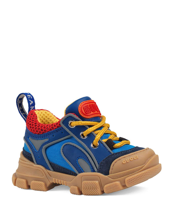 Gucci Kid's Flashtrek Leather & Canvas Sneakers, Baby/Toddler In Blue