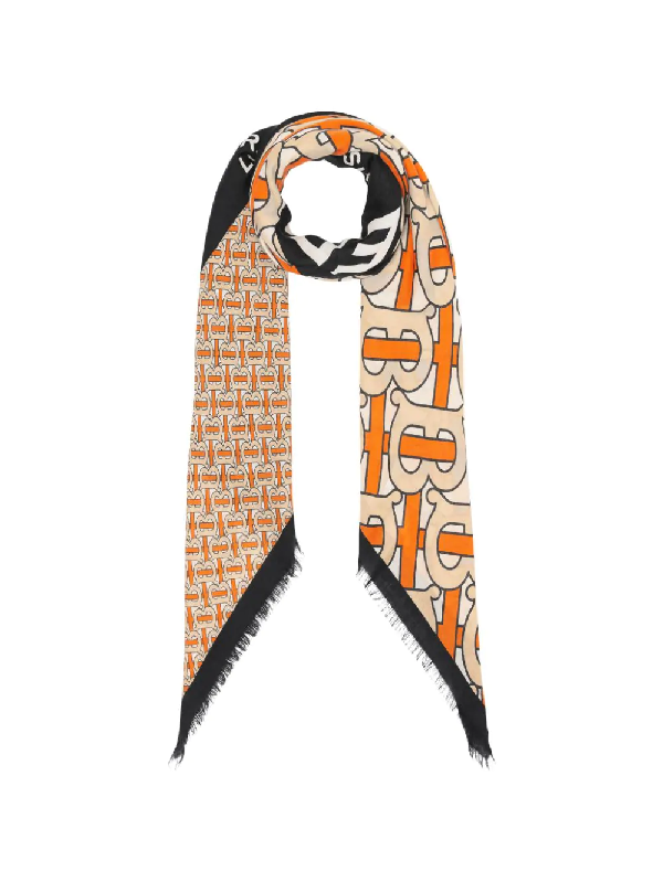 Burberry Monogram Print Cashmere Large Square Scarf In Orange