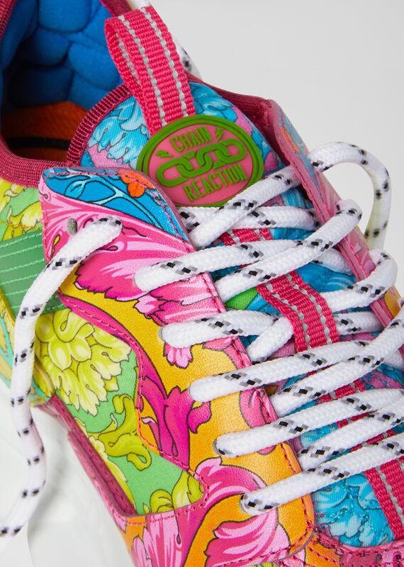 Versace Men's Barocco Chain Reaction Multipattern Sneakers In Pink