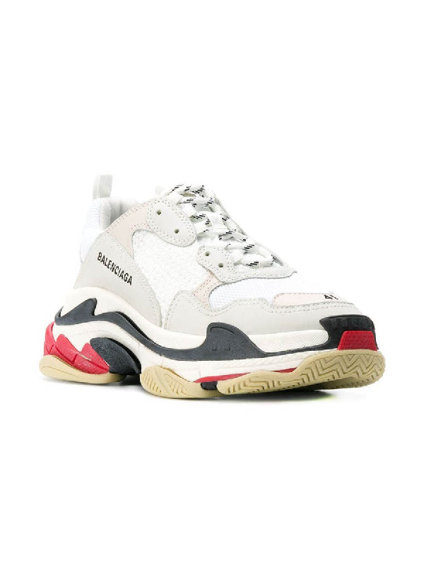 Balenciaga Triple S Suede, Leather & Mesh Sneakers In White