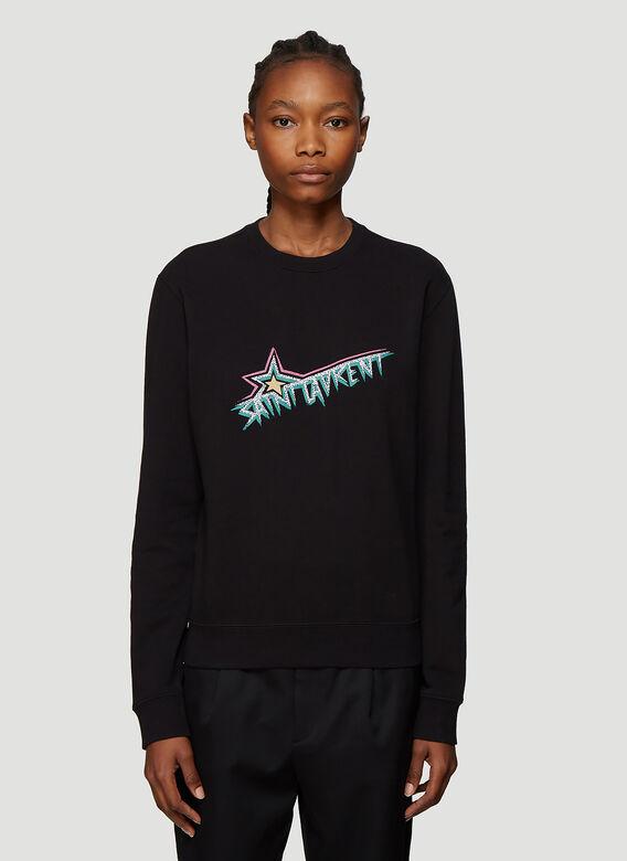 7554670dd61 Saint Laurent Star Logo Rock Cotton Sweatshirt In Black | ModeSens